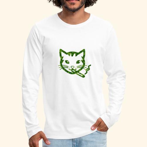 Smoking Cat Design - Men's Premium Long Sleeve T-Shirt