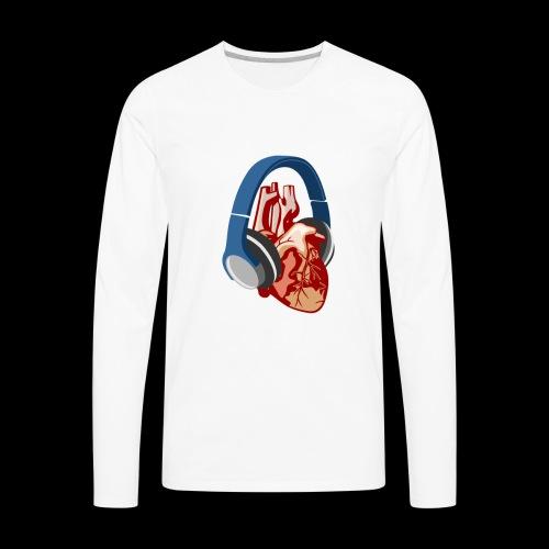Heartbeats for Music Headphones - Men's Premium Long Sleeve T-Shirt