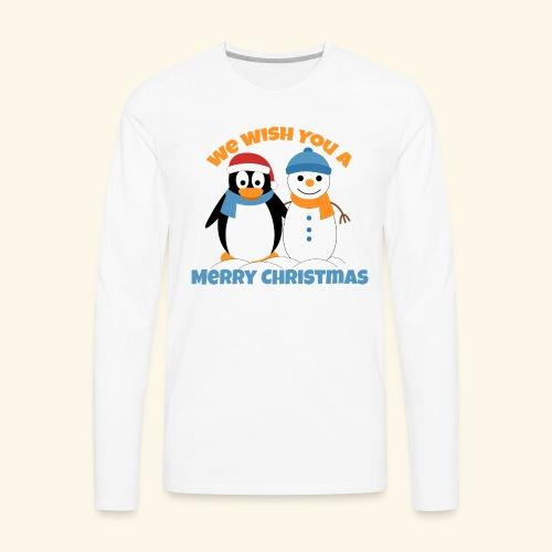 santa penguin with snowman christmas - Men's Premium Long Sleeve T-Shirt