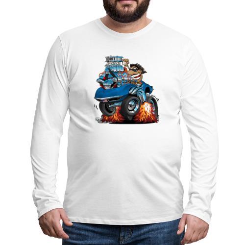 Classic '69 American Sports Car Cartoon - Men's Premium Long Sleeve T-Shirt