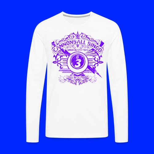 Vintage Cannonball Bingo Crest Purple - Men's Premium Long Sleeve T-Shirt