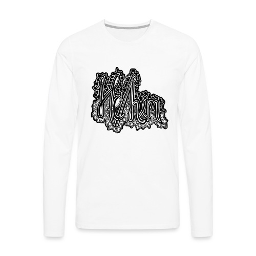 He/Him Cursive Blob - Large - Men's Premium Long Sleeve T-Shirt