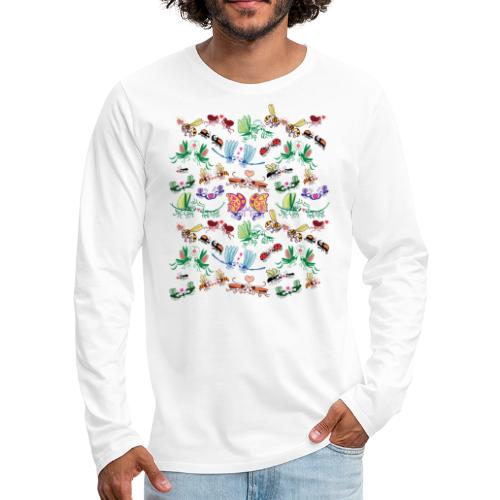 Funny insects falling in love in a pattern design - Men's Premium Long Sleeve T-Shirt