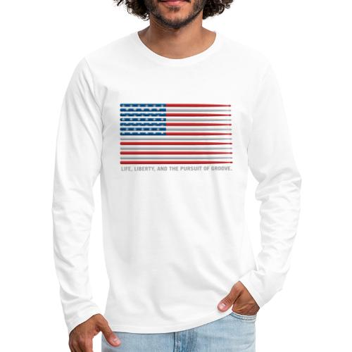 American Drummer Drumstick Flag - Men's Premium Long Sleeve T-Shirt