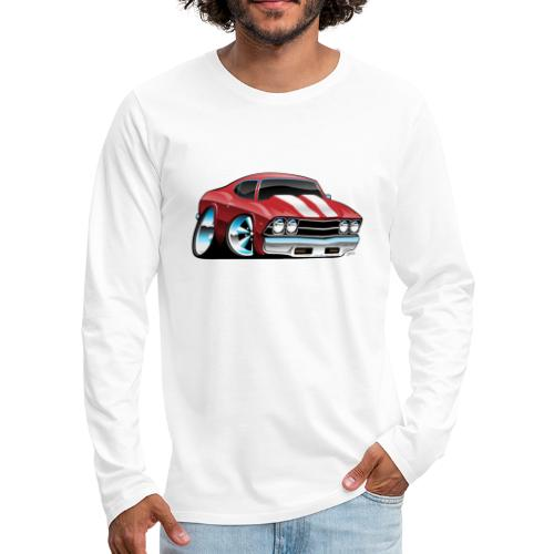 Classic American Muscle Car Cartoon - Men's Premium Long Sleeve T-Shirt