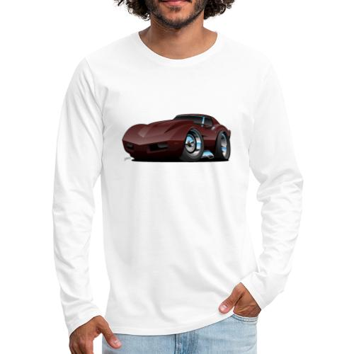 Classic Seventies American Sports Car Cartoon - Men's Premium Long Sleeve T-Shirt