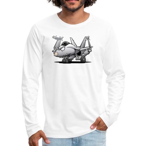 Military Naval Fighter Jet Airplane Cartoon - Men's Premium Long Sleeve T-Shirt