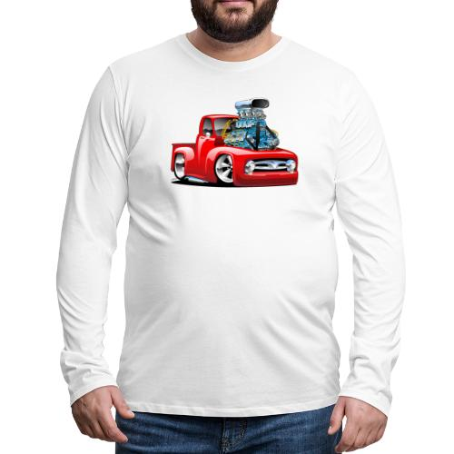 American Classic Hot Rod Pickup Truck Cartoon - Men's Premium Long Sleeve T-Shirt