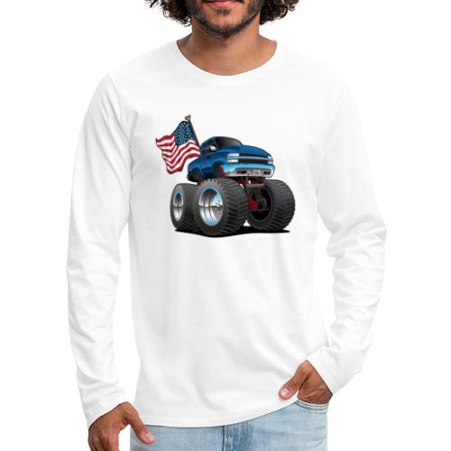 Monster Pickup Truck with USA Flag Cartoon - Men's Premium Long Sleeve T-Shirt