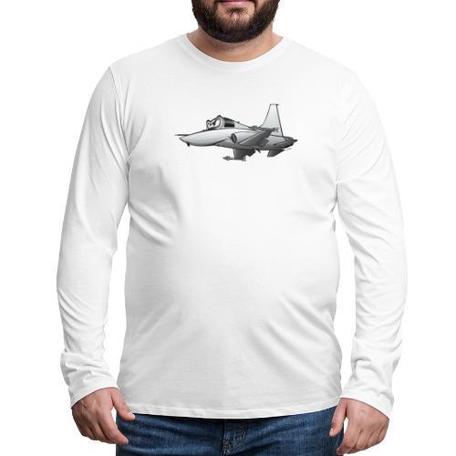 Military Fighter Jet Airplane Cartoon - Men's Premium Long Sleeve T-Shirt