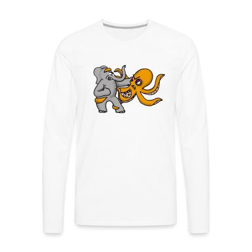 Elephant vs. Octopus T-Shirt - Men's Premium Long Sleeve T-Shirt