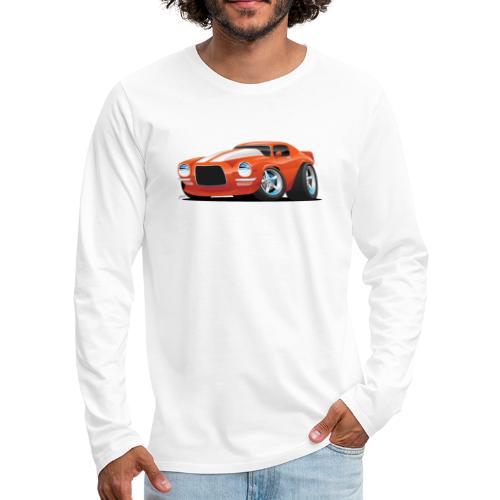Classic Seventies Muscle Car Cartoon - Men's Premium Long Sleeve T-Shirt