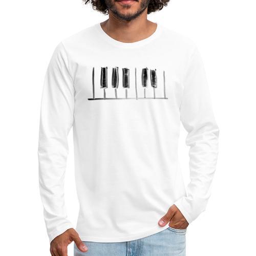 Hand Drawn Minimal Piano Design   Piano Keys - Men's Premium Long Sleeve T-Shirt