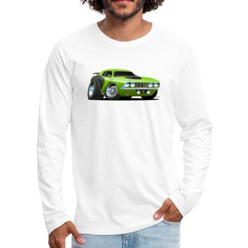 Classic Seventies American Muscle Car Cartoon - Men's Premium Long Sleeve T-Shirt