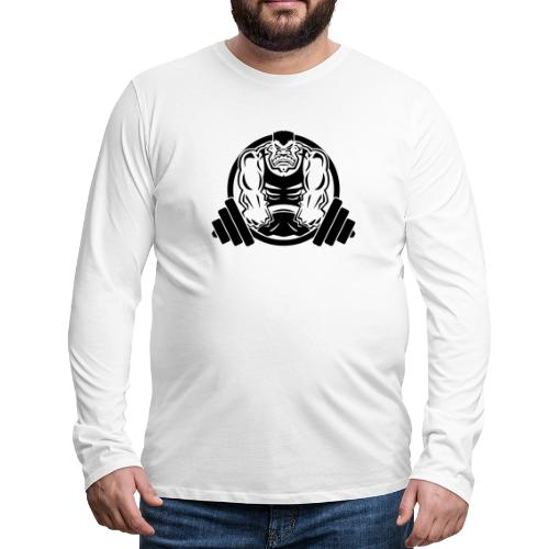 Weightlifting Muscle Fitness Gym Cartoon - Men's Premium Long Sleeve T-Shirt