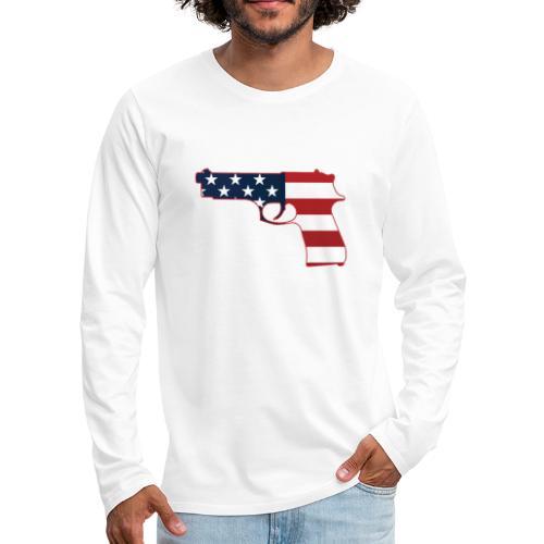 Semi-automatic Stars & Stripes Handgun Silhouette - Men's Premium Long Sleeve T-Shirt