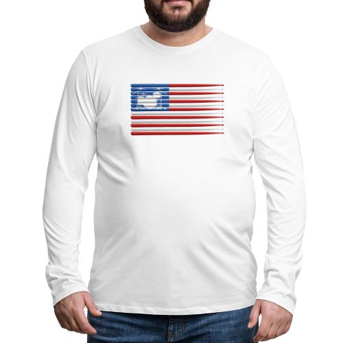 American Drummer Flag with Drum Kit and Sticks - Men's Premium Long Sleeve T-Shirt