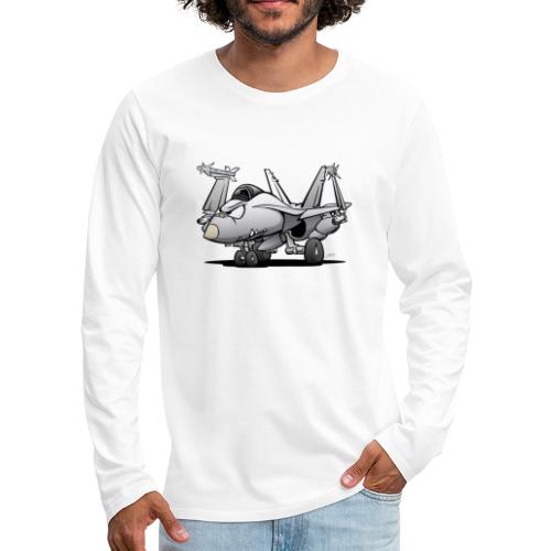 Military Naval Fighter Jet Airplane Cartoon - Men's Premium Long Sleeve T-Shirt