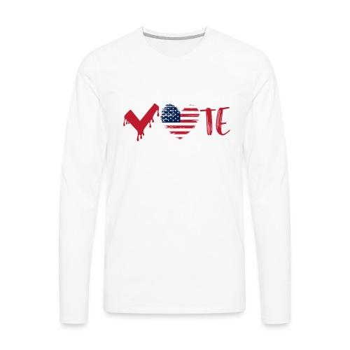 vote heart red - Men's Premium Long Sleeve T-Shirt