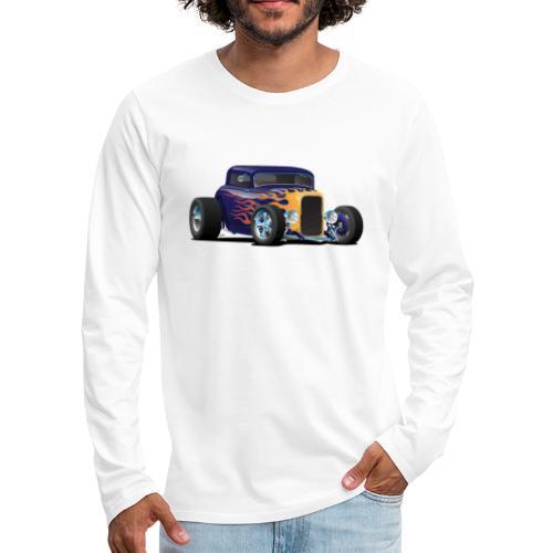 Vintage Hot Rod Car with Classic Flames - Men's Premium Long Sleeve T-Shirt