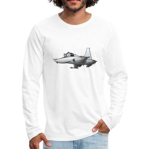 Military Fighter Jet Airplane Cartoon - Men's Premium Long Sleeve T-Shirt