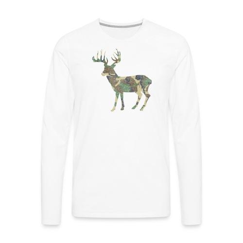 Distressed Camo Deer Silhouette T-Shirt - Men's Premium Long Sleeve T-Shirt