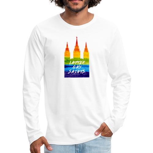 Mormon Temple in gay pride Latter gay saints - Men's Premium Long Sleeve T-Shirt