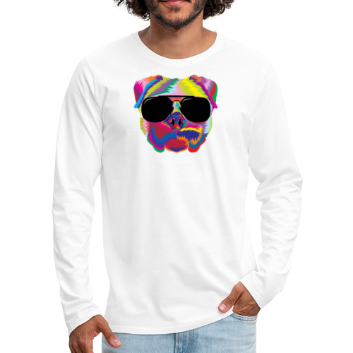 Psychedelic Pug Dog Face with Sunglasses - Men's Premium Long Sleeve T-Shirt