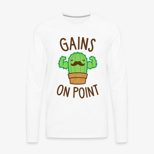 Gains On Point (Cactus Pun) - Men's Premium Long Sleeve T-Shirt