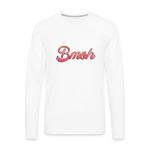 Mens Baseball T Pink Bmoh logo - Men's Premium Long Sleeve T-Shirt