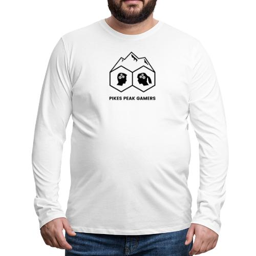 Pikes Peak Gamers Logo (Solid White) - Men's Premium Long Sleeve T-Shirt