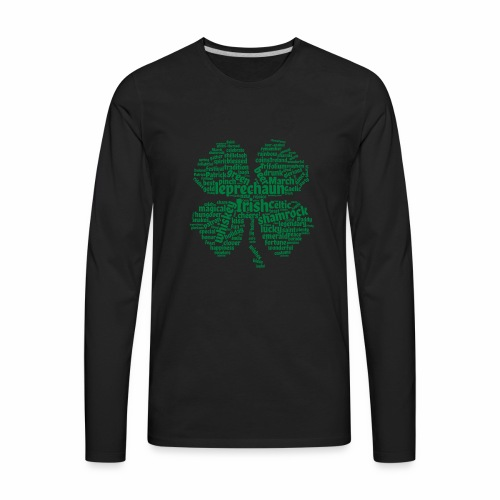 Shamrock Word Cloud - Men's Premium Long Sleeve T-Shirt
