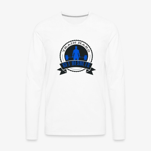 TRAIN HARD CLASSIC HOODIE - Gray & Blue - Men's Premium Long Sleeve T-Shirt