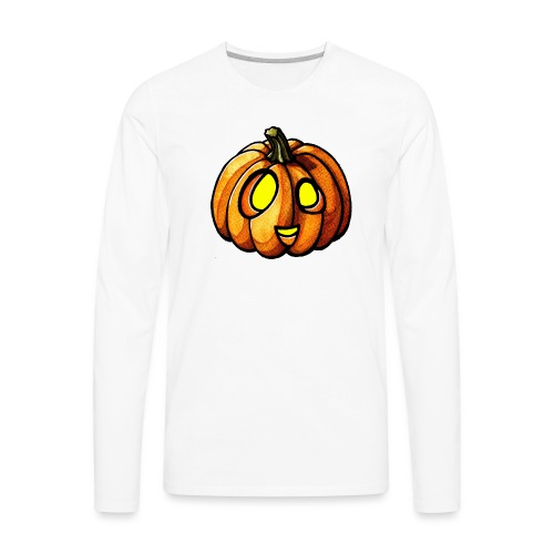 Pumpkin Halloween watercolor scribblesirii - Men's Premium Long Sleeve T-Shirt