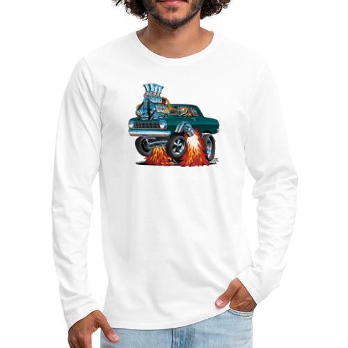 Sixties American Classic Muscle Car Cartoon - Men's Premium Long Sleeve T-Shirt