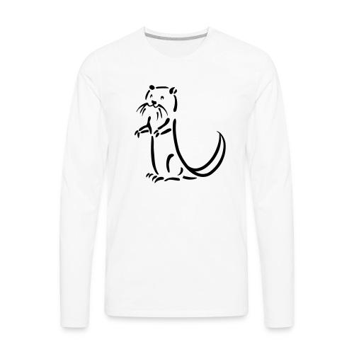 otter beaver sea otter fish lake fishing river - Men's Premium Long Sleeve T-Shirt