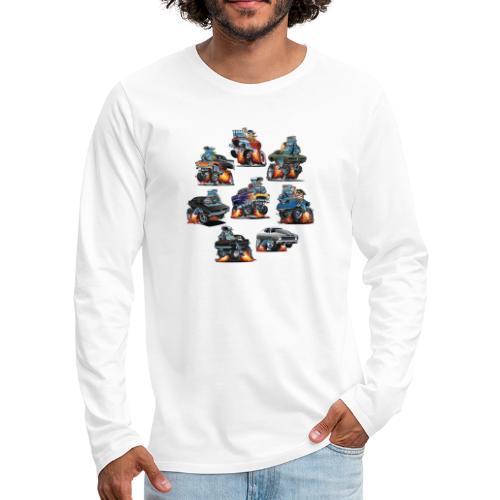 Car Crazy Classic Hot Rod Muscle Car Cartoons - Men's Premium Long Sleeve T-Shirt