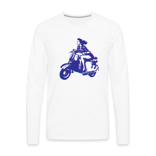 Cute Vespa Scooter Girl - Men's Premium Long Sleeve T-Shirt