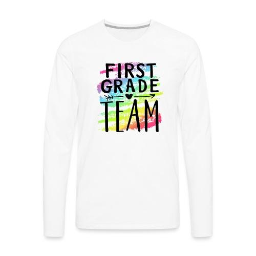 First Grade Team Crayon Splash Teacher T-Shirts - Men's Premium Long Sleeve T-Shirt