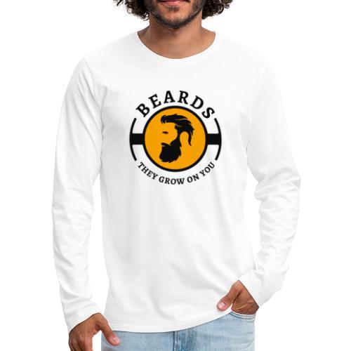 Beards, they grow on you | Minimal Orange Design - Men's Premium Long Sleeve T-Shirt