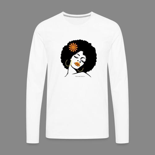 Afro Diva Orange Flower - Men's Premium Long Sleeve T-Shirt
