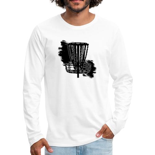 Disc Golf Basket Paint Black Print - Men's Premium Long Sleeve T-Shirt