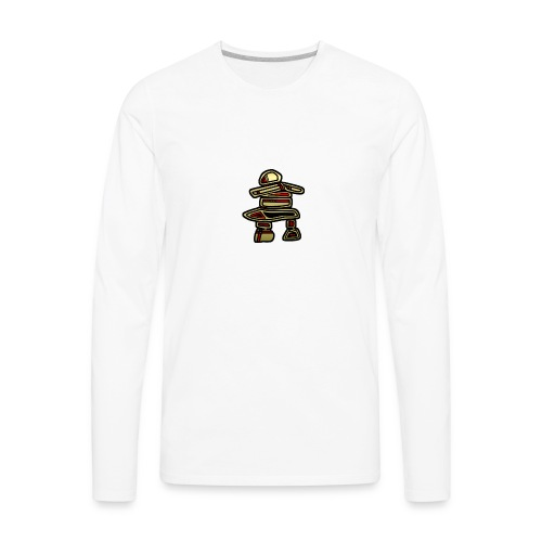 Inuksuk Totem Figure in Gold - Men's Premium Long Sleeve T-Shirt