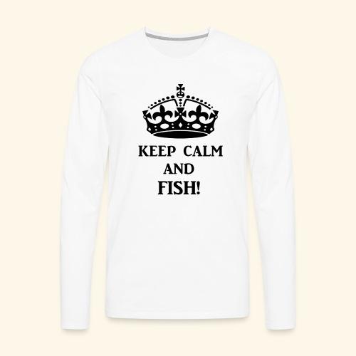 keep calm fish blk - Men's Premium Long Sleeve T-Shirt