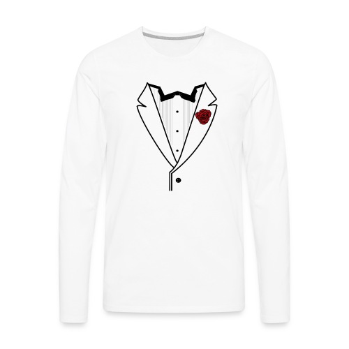 Tuxedo w/Black Lined Lapel - Men's Premium Long Sleeve T-Shirt