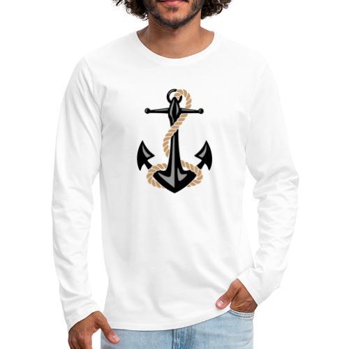 Classic Nautical Anchor and Rope Design - Men's Premium Long Sleeve T-Shirt