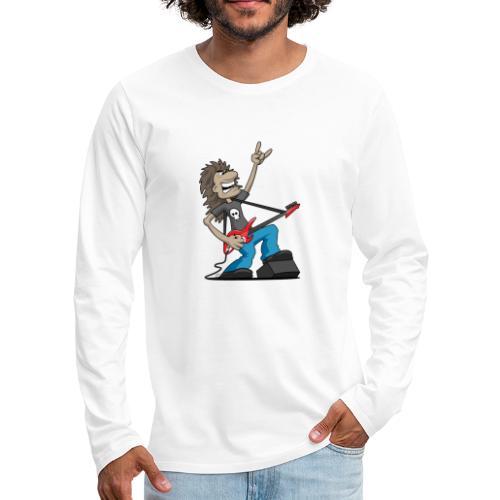 Heavy Metal Rock Guitarist Cartoon - Men's Premium Long Sleeve T-Shirt
