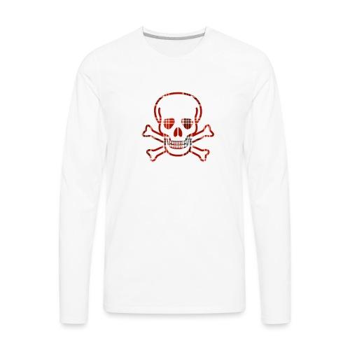 Skull & Cross Bones Red Plaid - Men's Premium Long Sleeve T-Shirt