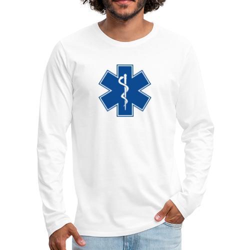EMT Health Care Rod of Asclepius Medical Symbol - Men's Premium Long Sleeve T-Shirt