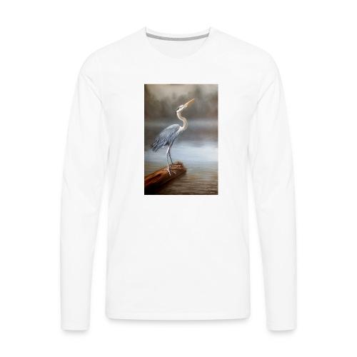 Blue Heron Wildlife Painting Print - Men's Premium Long Sleeve T-Shirt